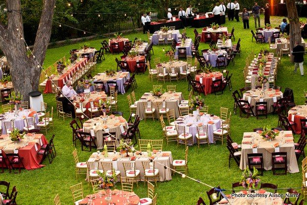 This Charity Dinner On The Lawn Mixed Table Shapes