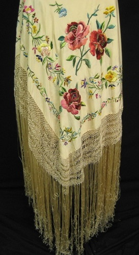 Antique Vintage Corcoran Rose Floral Embroidered Fringed Piano Shawl Wrap  $249.99