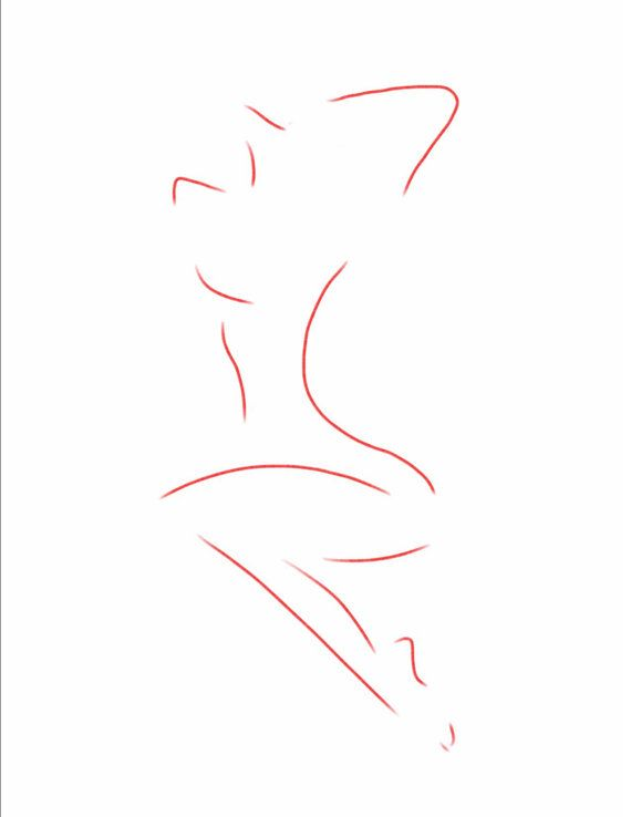 """Red Skin"" Abstract Drawing Nude Woman Print by ladybugonaleaf, $20.00"