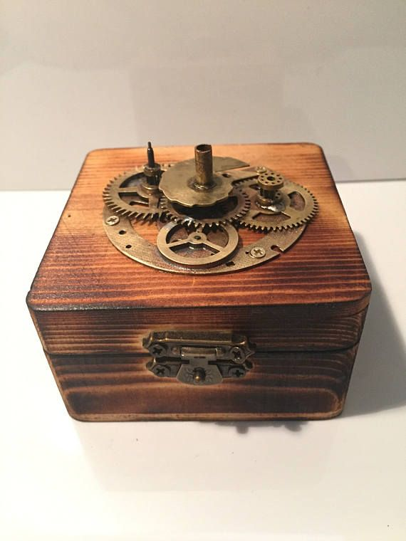 Small Hinged Scorched Wooden Steampunk Jewellery Box Or