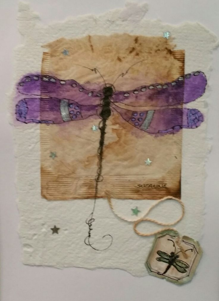 "Tea Bag Treasure's Suzanne LeLoup-West ""Dragonfly"" Suzanne@suzannes-art-studio.com handmade paper, framed and ready to hang. (sold)"