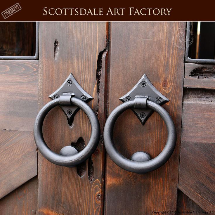 Door Pull Rings - Hand Forged Wrought Iron - HDP55A - Custom door handles handcrafted from Scottsdale Art Factory