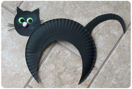 Chat noir assiette en carton- Halloween