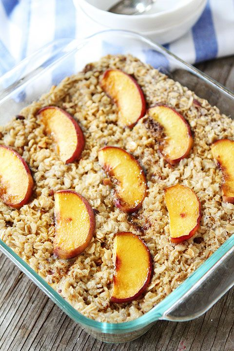 Baked Peach Almond Oatmeal Recipe on twopeasandtheirpod.com An easy and healthy breakfast!