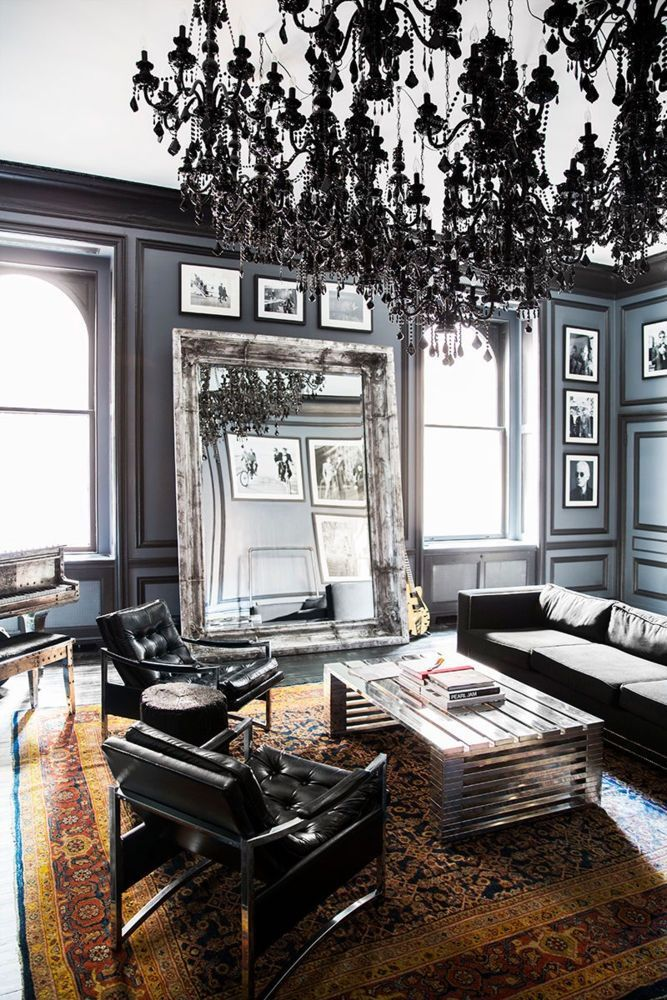 I Love The Huge Silver Mirror Black Chandelier In This Modern Living Room That