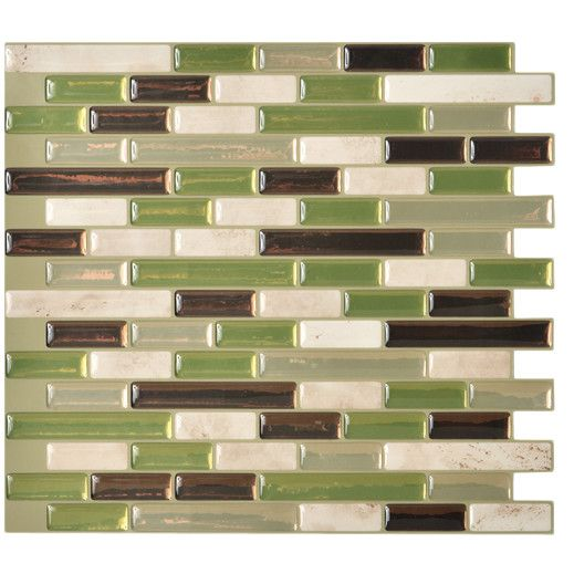 "Smart Tiles Mosaik 10.25"" x 9.13"" Mosaic Tile in Green & Gray"