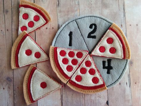 Pizza Quantity Matching Sport, Embroidered Acrylic Felt, 6 pizza slices and felt pan, Academic Preschool Sport, Made in USA