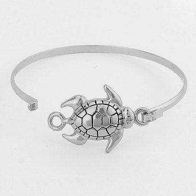 Turtle Hinge Bangle Bracelet SILVER Sea Life Nautical Fashion Starfish Jewelry