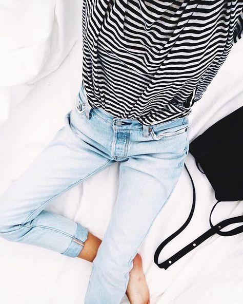 loose striped shirt and light denim