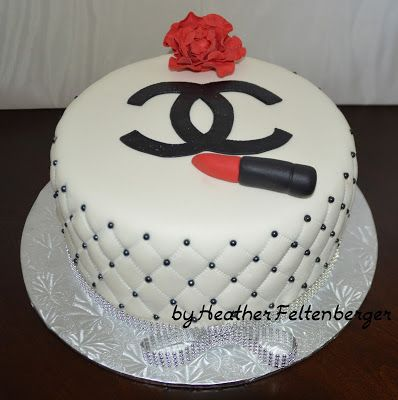 Coco Chanel black, red, and white Birthday Cake
