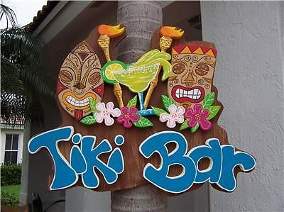 Tropical TIKI Torch Margarita Hibiscus Wood Sign HP