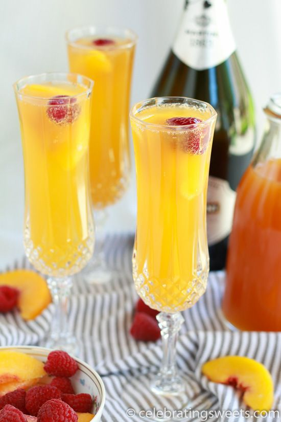 Raspberry Peach Mimosas  -  sparkling wine combined with peach juice and a splash of raspberry liqueur.