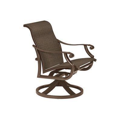 Tropitone Montreux Ii Swivel Patio Dining Chair Finish: Greco, Fabric: Mia II