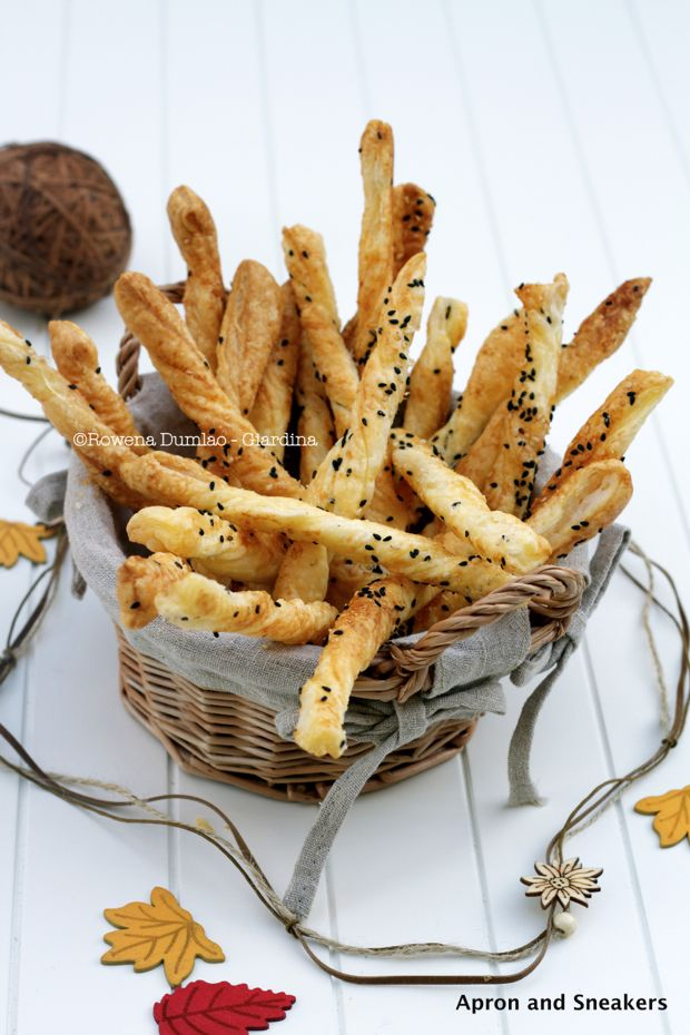 Cheese Straws with Parmigiano Reggiano, Sesame Seeds & Fleur de Sel from @Rowena Dumlao Giardina | Apron and Sneakers