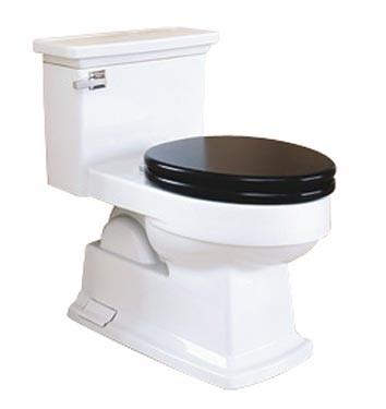 Black toilet seat.