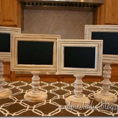 Wouldn't these chalkboard pedestal frames be fabulous food tags for a dessert bar?!  The frames and pedestals can be purchased at your local craft store.  A wonderful thing about these is that you can reuse them over and over.