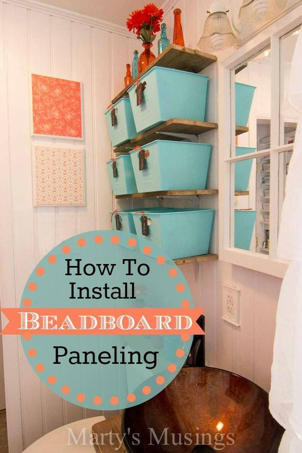 Step by step diy tutorial on how to install beadboard paneling in a bathroom including