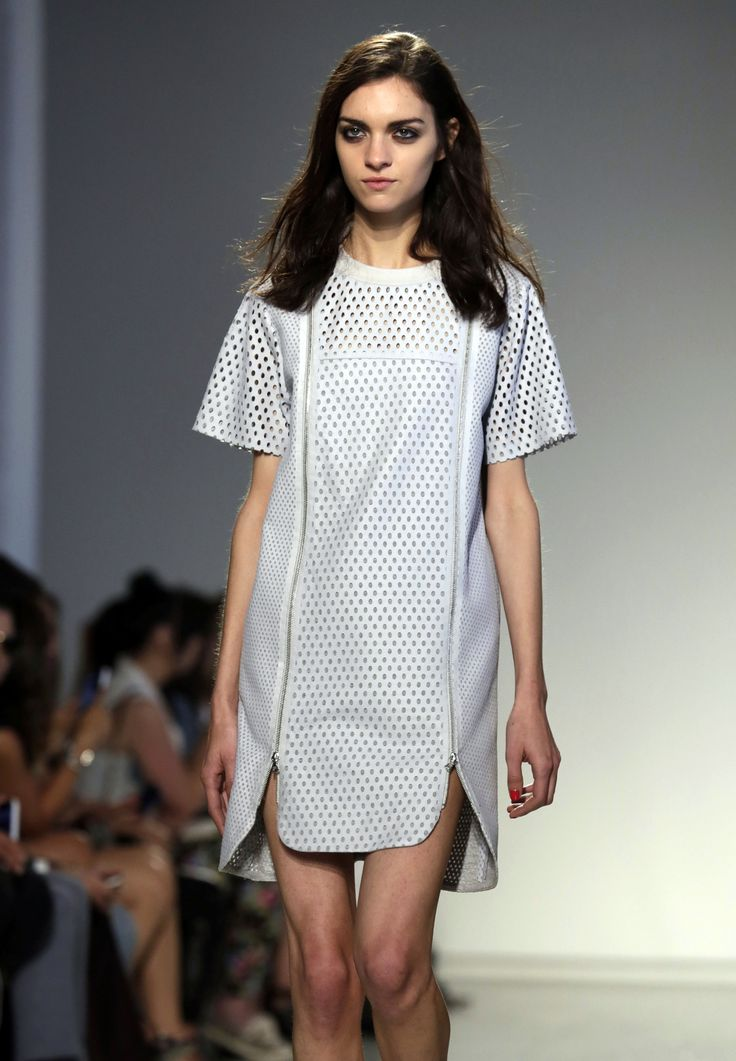 At Rebecca Taylor, it was all about the perforated leather. A light pastel hue makes a leather look less tough, and a t-shirt style dress still reigns supreme.