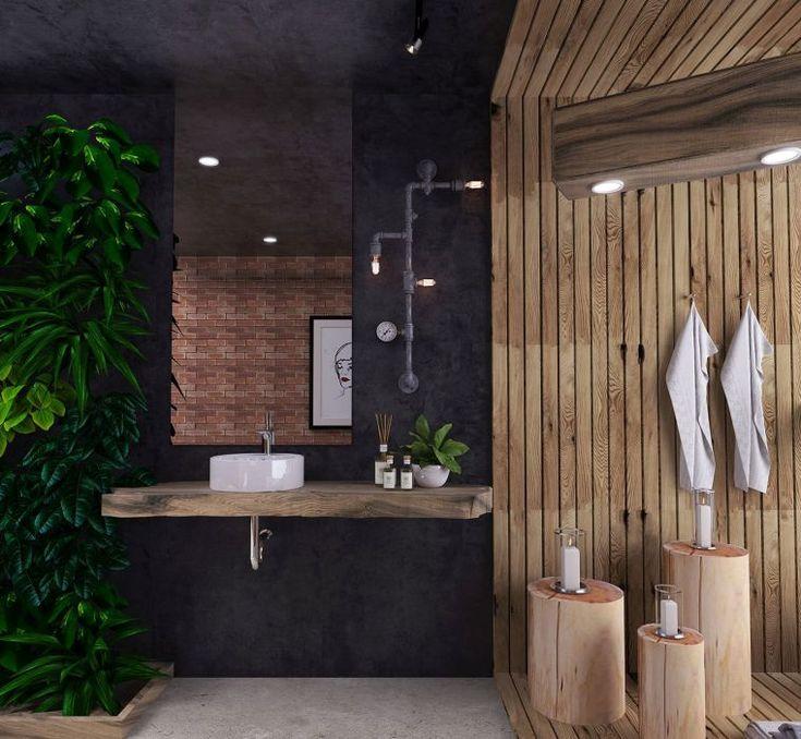 100 id es pour une d co salle de bain sombre r ussie design int rieur tendance d co maison - Plante salle de bain sombre ...