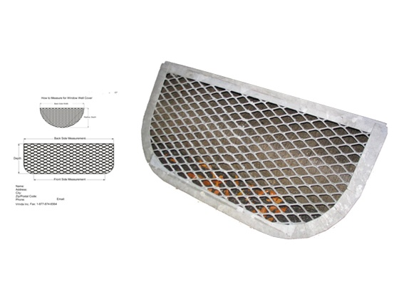 Basement window well grate made from expanded metal mesh