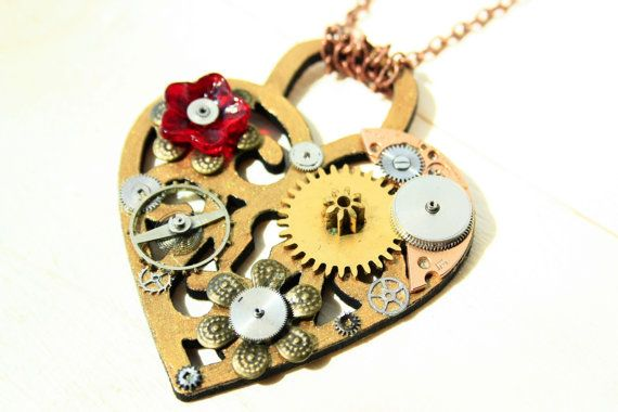 Steampunk Filigree Heart with Clock/Watches by JeanneNoireRepunked