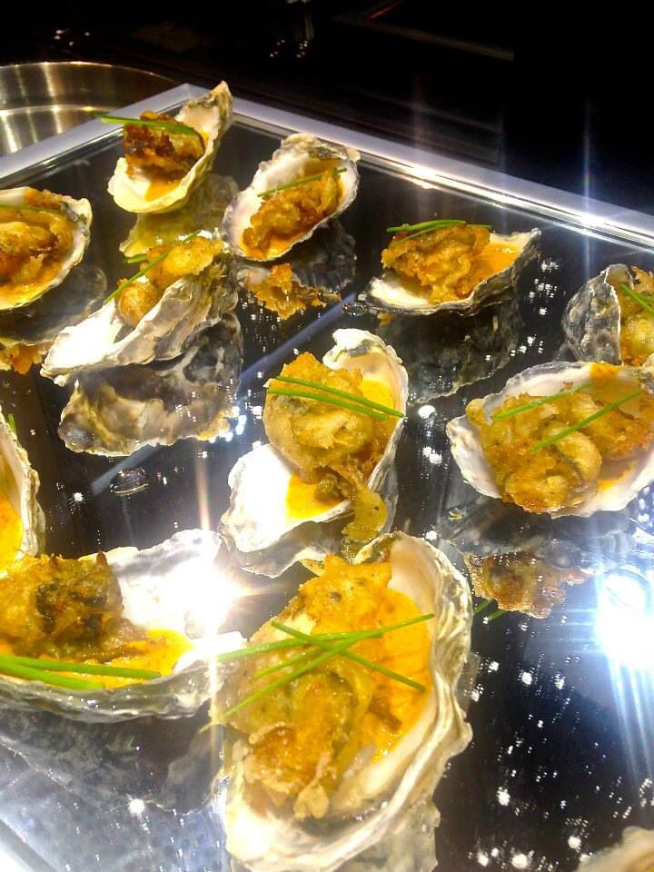 Oysters were served on mirror platters