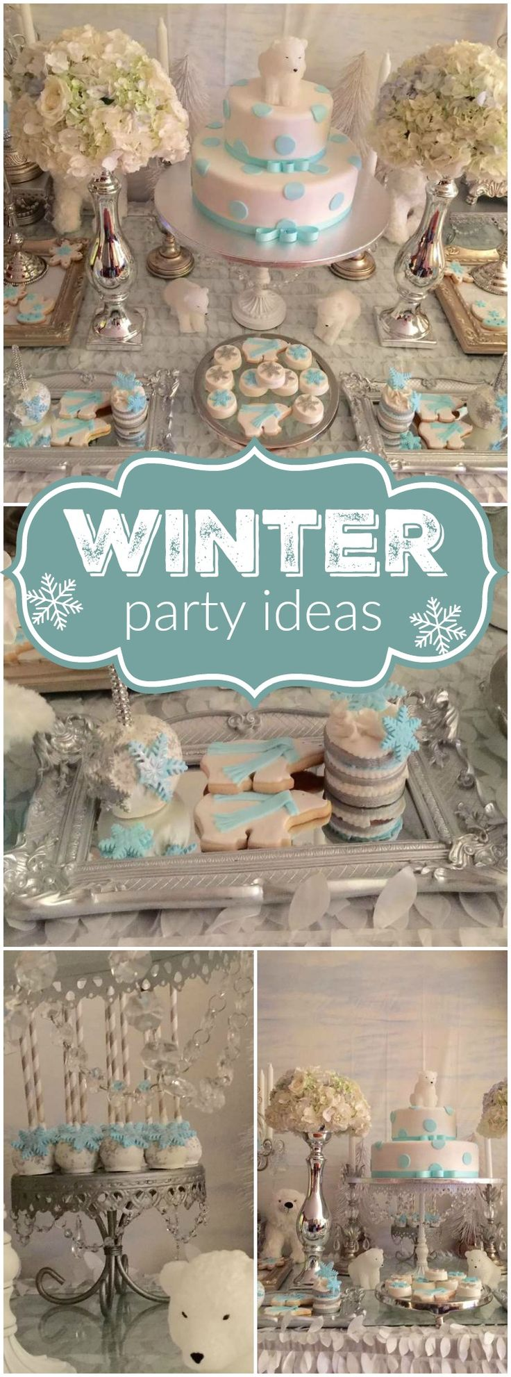 What a pretty blue and white polar bear party! See more party  ideas at CatchMyParty.com!