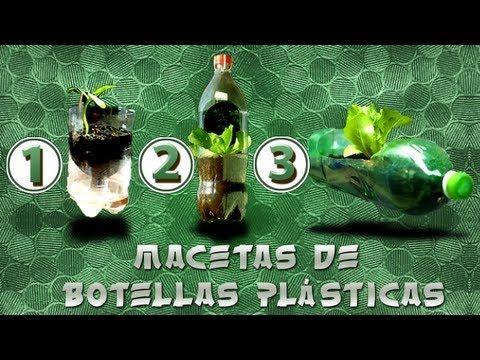 Como hacer macetas de 3 tipos con botellas pl sticas - Como hacer jardines verticales ...