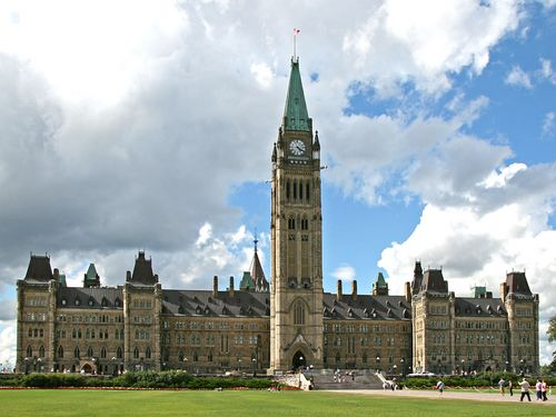 Canadian Parliament Building on Parliament Hill in Ottawa. Love the clouds too!