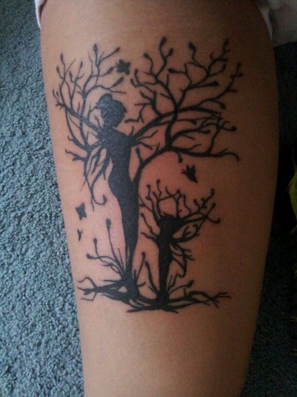 My new mother daughter (thigh) tattoo! My inspiration, Mother nature: fairy daughter reaching out to her mother in this family tree. I love you mom :)