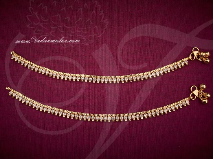 White Colour Stone Anklets Kolusu Micro Gold plated - Kids Anklets