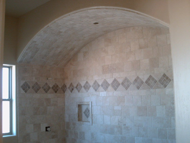 Arched Ceiling Over Tub Area With Tile Installed By Mingus