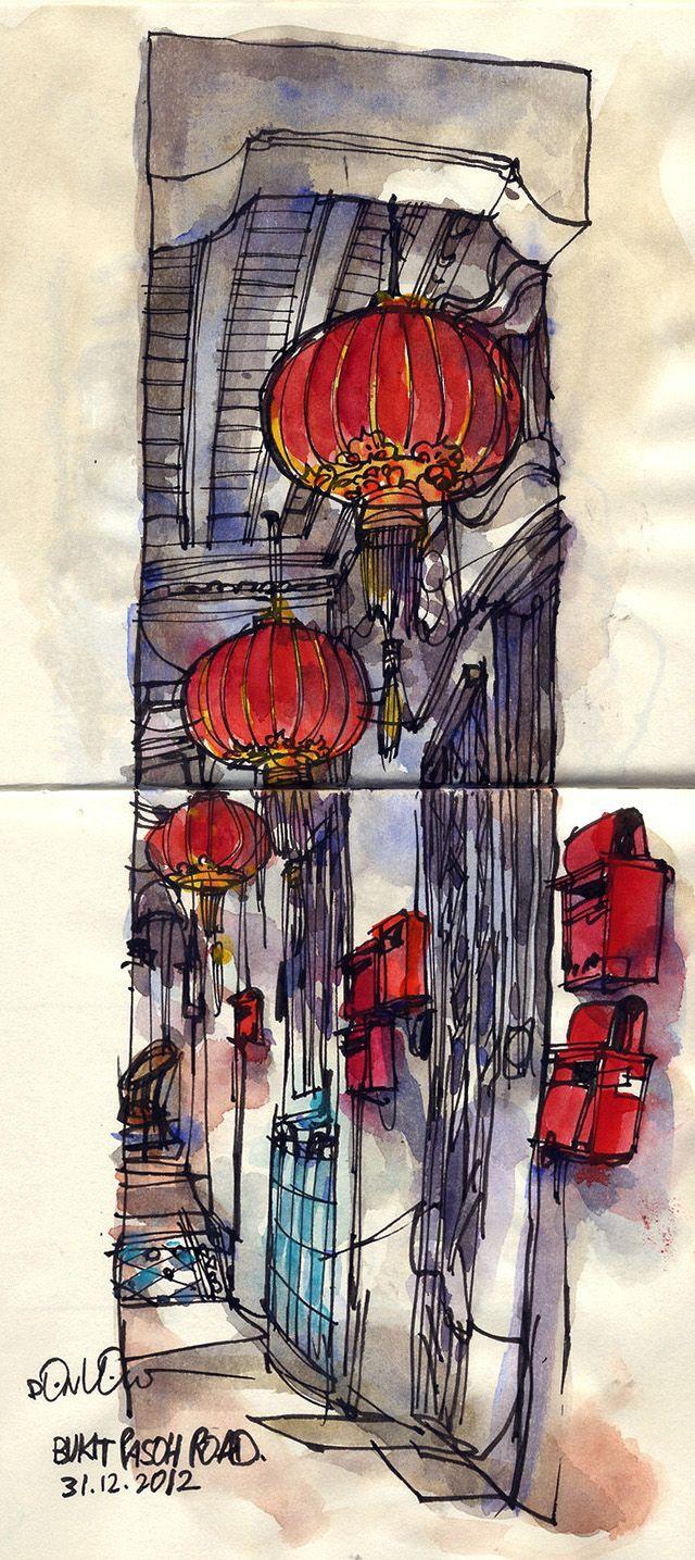 Urban Sketchers: Red Lanterns
