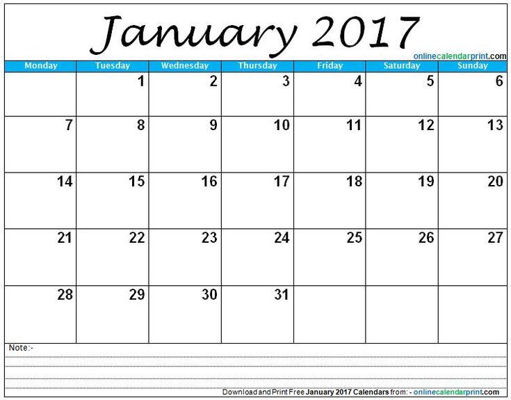 25+ ideias exclusivas de January 2017 calendar template no - blank calendar templates