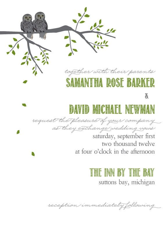 Love Owl tree invitation wedding green grey by itcoa on Etsy, $5.00