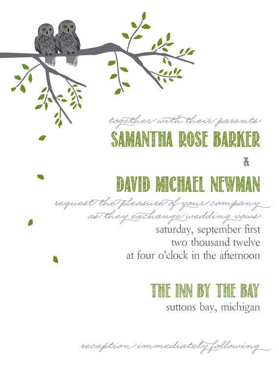 Love Owl tree invitation wedding green grey by itcoa on Etsy, $5.00