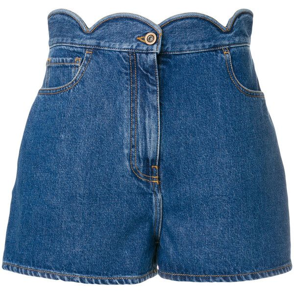 Valentino denim shorts ($890) ❤ liked on Polyvore featuring shorts, blue, scalloped edge shorts, scallop hem shorts, scalloped shorts, blue shorts and short shorts