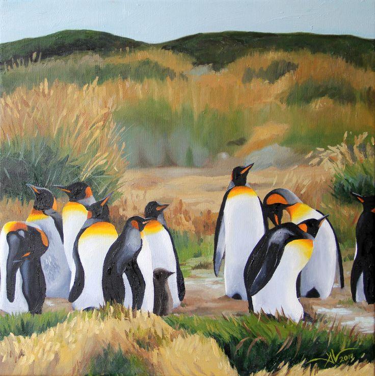 """Pinguinos"" (Penguins) Oil on Canvas, 40 x 40 cm 2014"