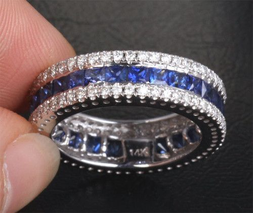 3 29ctw Princess Cut Sapphire and Diamonds Real 14k White Gold Wedding Band Ring | eBay