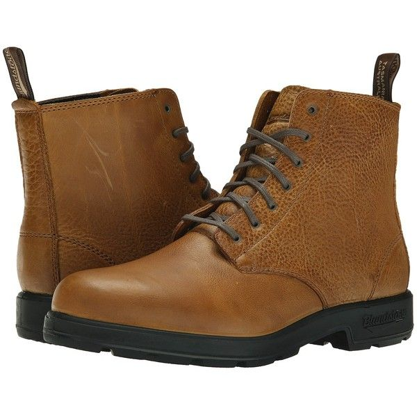 Blundstone BL1453 (Tan Tumble) Work Boots ($200) ❤ liked on Polyvore featuring shoes, boots, ankle boots, platform ankle boots, lace up ankle boots, tan ankle boots, laced up ankle boots and leather ankle boots