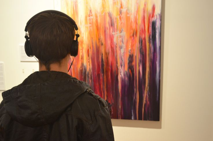 Soundscape Exhibition - Original paintings, acrylic & inks, mixed media, abstract art | listening to the sound of the painting.