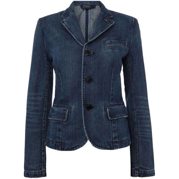 Polo Ralph Lauren Denim blazer (£345) ❤ liked on Polyvore featuring outerwear, jackets, blazers, denim, women, denim blazer jacket, polo ralph lauren blazer, denim jacket, tailored jacket and blue jackets