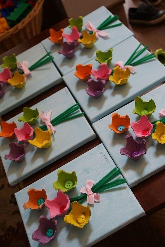 Gemalte Blumen auf Leinwand M BD 7yo Blumen, Blumenstrauß aus Eierkarton