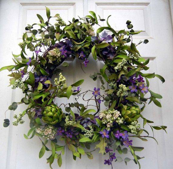 Spring Wreath Easter Front Door  Natural Look by forevermore1