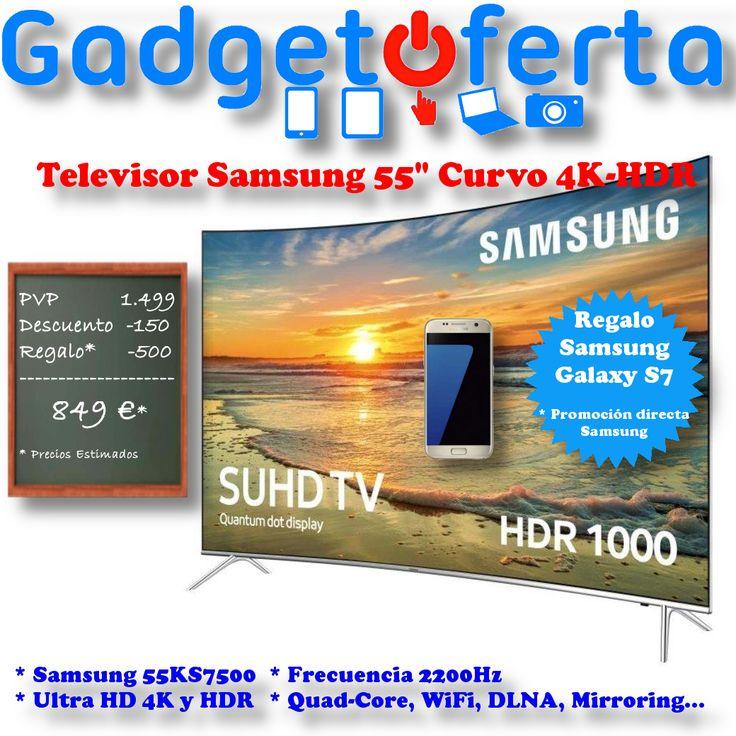 """CHOLLO-TELEVISOR  #Samsung Curvo 55"""" 4K-HDR  + 150€ de descuento  + Samsung #GalaxyS7 de regalo  Precio Estimado = 849€"""