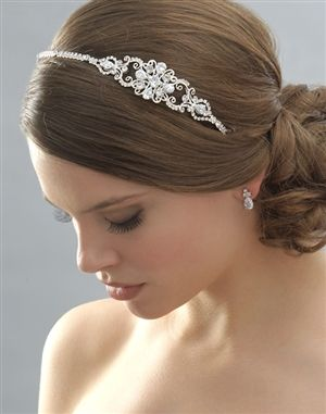 Side Wedding Headband, Vintage Designer Crystal Headbands