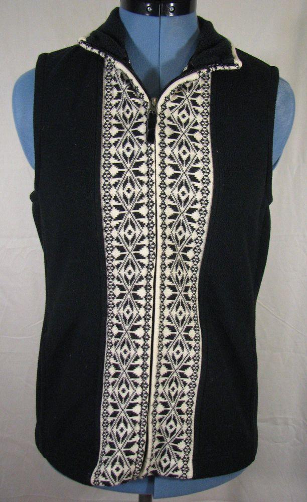 L.L. Bean Black and White Zip-up Vest with Pockets - Women's XS #LLBean #Vest