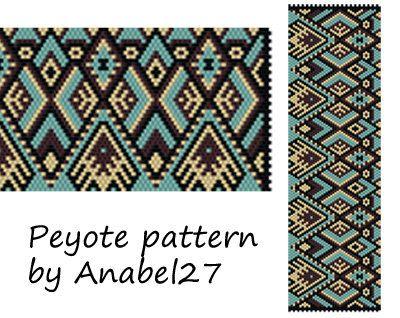 Peyote pattern beadwork wide peyote cuff by Anabel27shop