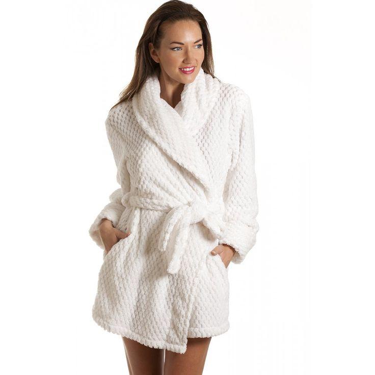 Ladies Luxury White Soft Jacquard Waffle Bath Robe | Fashideas.com