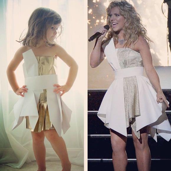 Cute Little Girl Models Paper Versions Of Famous Fashion Design Dresses 2